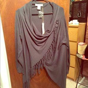 LOVESTITCH Carys Fringed Wrap Sweater Grey NWT